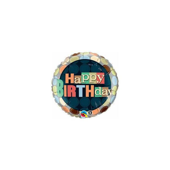 18 inch-es Birthday Dots Szülinapi Fólia Lufi