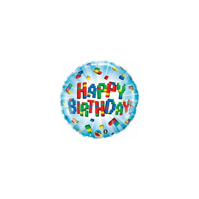 18 inch-es Birthday Exploding Blocks Szülinapi Fólia Lufi