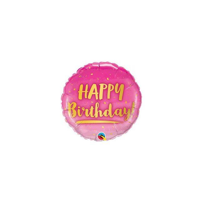 18 inch-es Birthday Gold and Pink Szülinapi Fólia Lufi