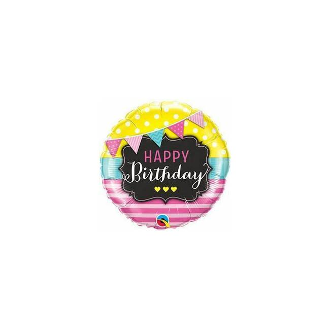 18 inch-es Birthday Pennants and Pink Stripes Szülinapi Fólia Lufi