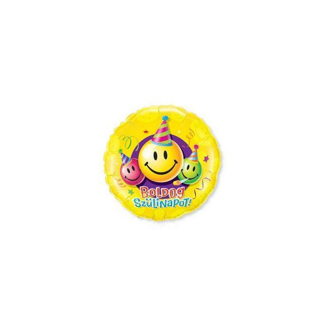 18 inch-es Boldog Szülinapot Feliratú Mosolygós-Smile Szülinapi Fólia Lufi