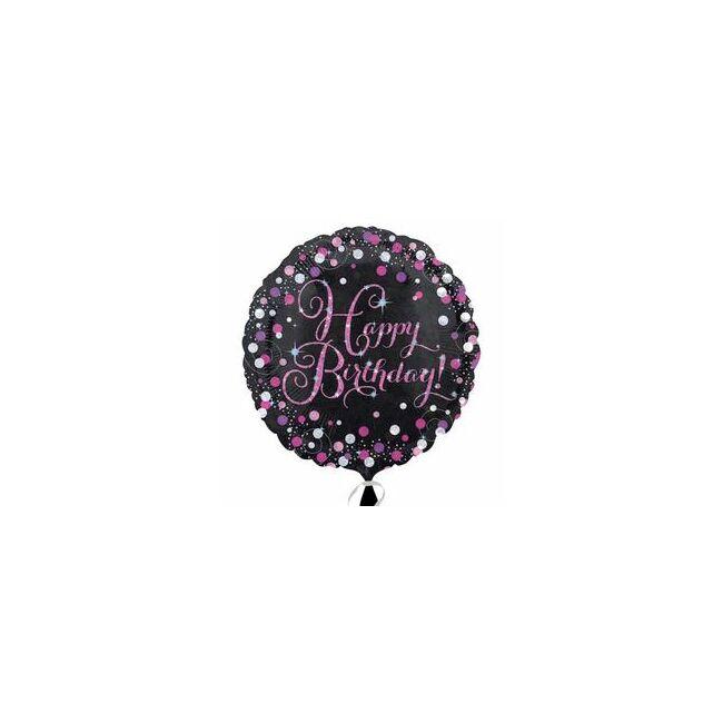 18 inch-es Happy Birthday Pink Celebration Prismatic Szülinapi Fólia Lufi