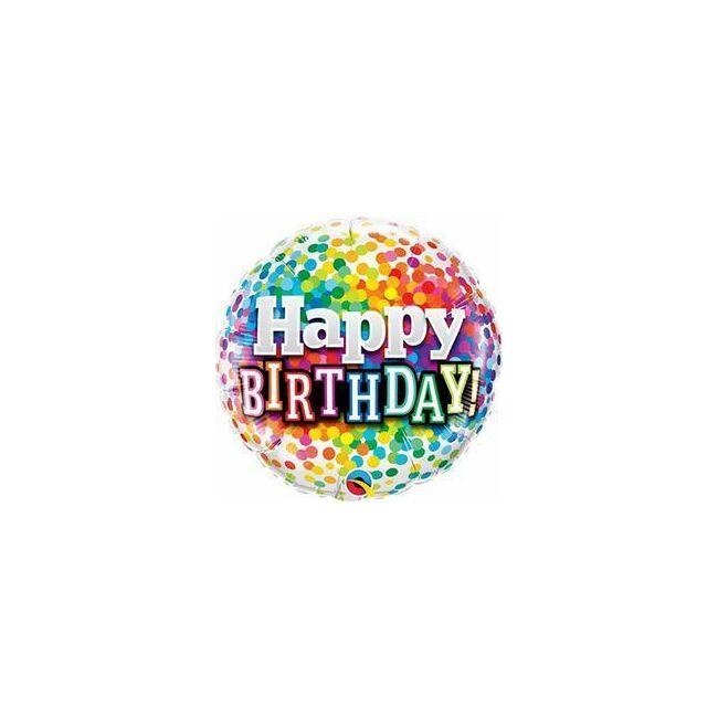 18 inch-es Happy Birthday Rainbow Confetti Szülinapi Fólia Lufi