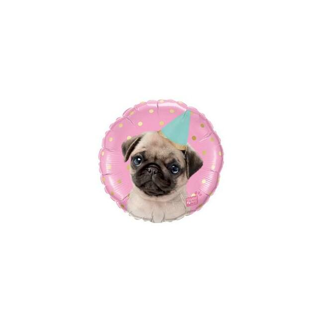 18 inch-es Studio Pets - Party Pug Fólia Lufi