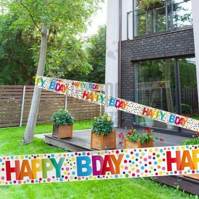 Happy Birthday Rainbow Dots - Színes Pöttyös Szülinapi Parti Kordonszalag születésnapi dekorációnak