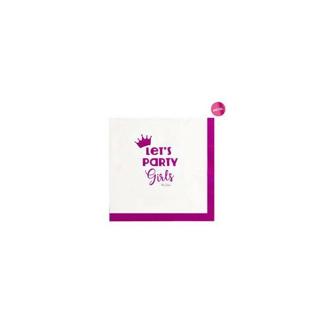 Let's Party Girls Rózsaszín Papír Szalvéta Lánybúcsúra - 33 x 33 cm, 16 db