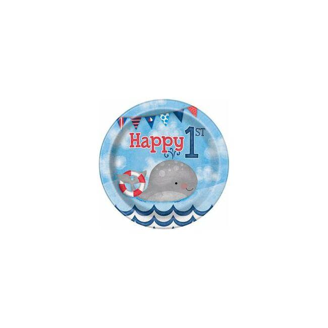 First Birthday Kék Tengeri - Első Szülinapi Parti Tányér - 17 cm, 8 db-os