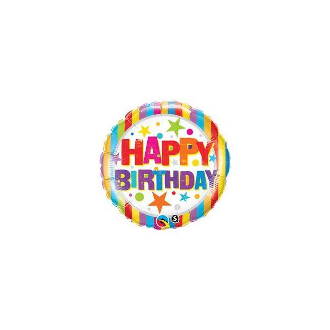 18 inch-es Birthday Stripes & Stars Szülinapi Fólia Lufi