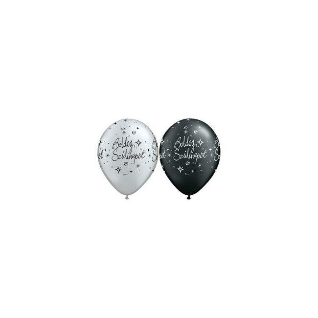 Ezüst és fekete színű gumi lufik születésnapra. Mérete: 11 inch (28 cm)