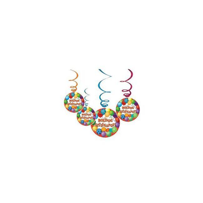 Boldog Szülinapot Léggömbös Parti Függő Dekoráció - 6 db-os
