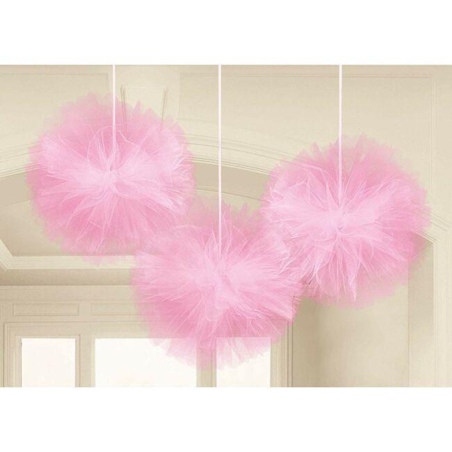 Pink Tüll Bolyhos Függő Dekoráció - 3 db-os