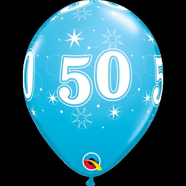 11 inch-es 50-es Sparkle-A-Round Robins Egg Szülinapi Lufi (6 db/csomag)