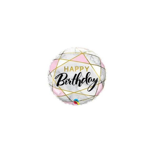 18 inch-es Birthday Marble Rectangles Szülinapi Fólia Lufi