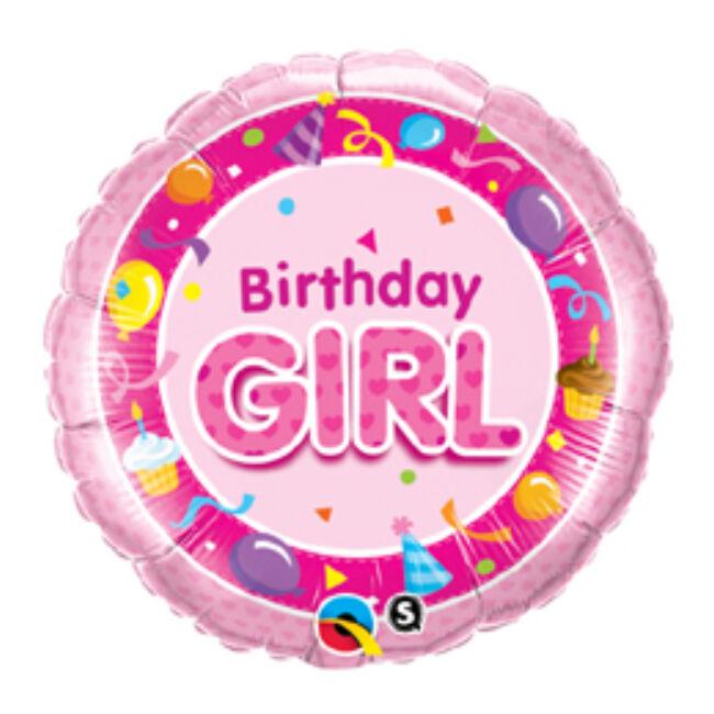 18 inch-es Rózsaszín - Birthday Girl Pink Szülinapi Fólia Lufi