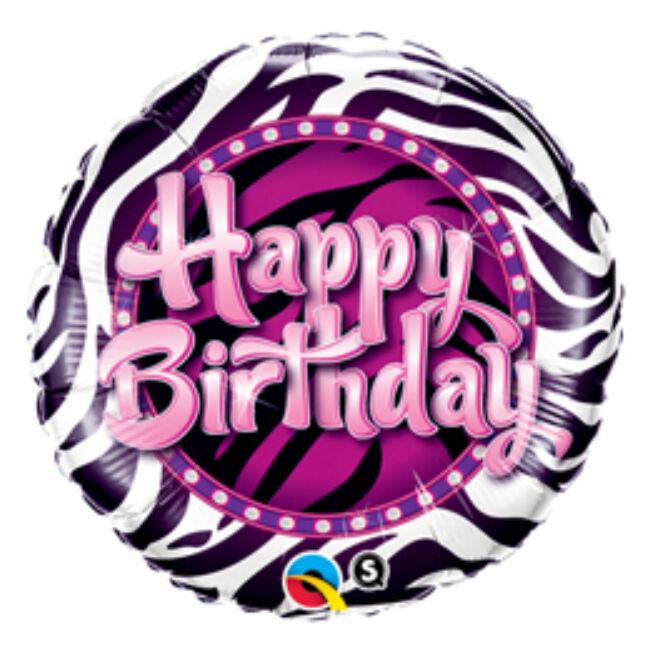 18 inch-es Birthday Zebra Print Szülinapi Fólia Lufi