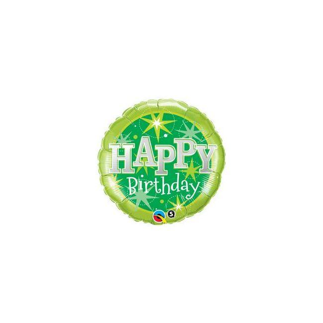 18 inch-es Birthday Green Sparkle Szülinapi Fólia Lufi