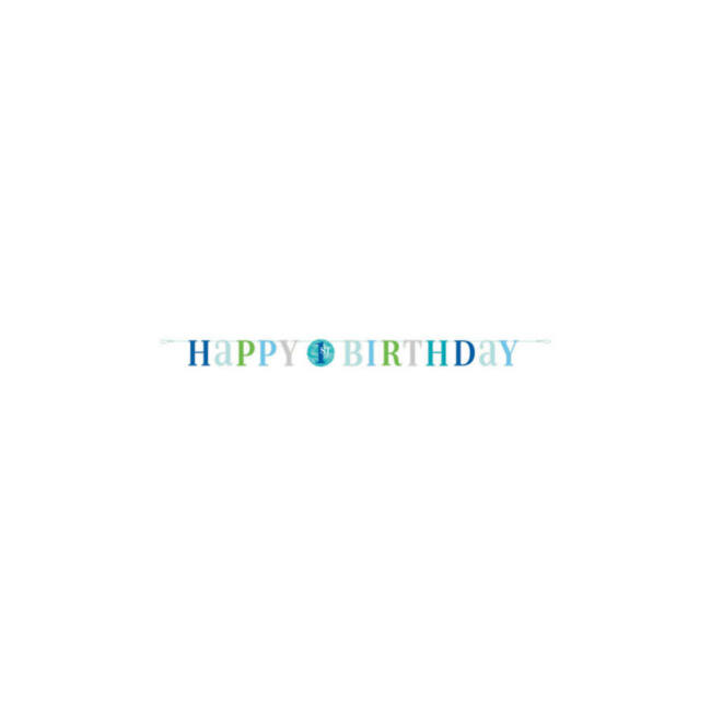 Kék pöttyös Happy Birthday felirat 1. szülinapra, 183 cm