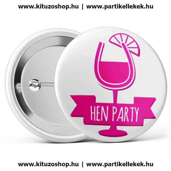 Hen Party koktélpoharas lánybúcsú kitűző