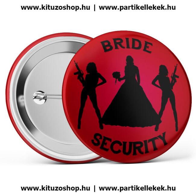 Bride security lánybúcsú kitűző piros