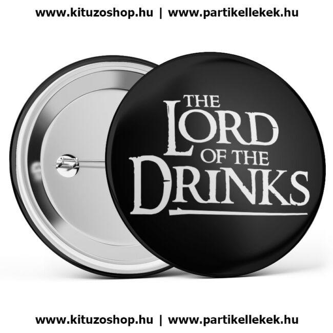 The Lord Of The Drinks kitűző legénybúcsúra vagy lánybúcsúra fekete színben