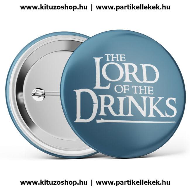 The Lord Of The Drinks kitűző legénybúcsúra vagy lánybúcsúra kék színben