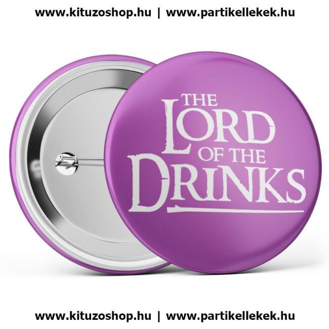 The Lord Of The Drinks kitűző legénybúcsúra vagy lánybúcsúra lila színben