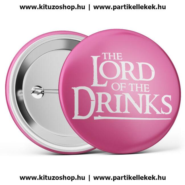 The Lord Of The Drinks kitűző legénybúcsúra vagy lánybúcsúra rózsaszín színben