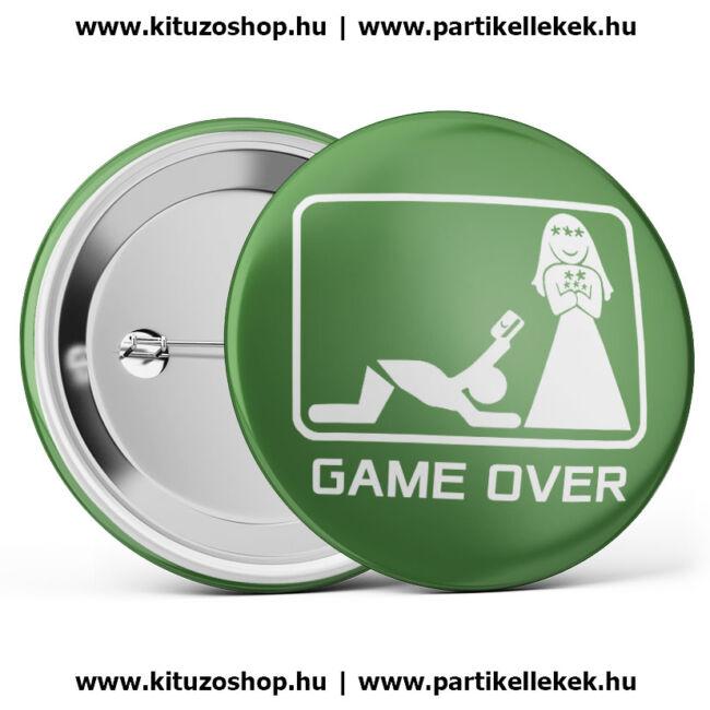 Game over kártyás kitűző lánybúcsúra és legénybúcsúra