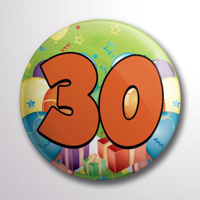 Születésnapos színes kitűző 30-as