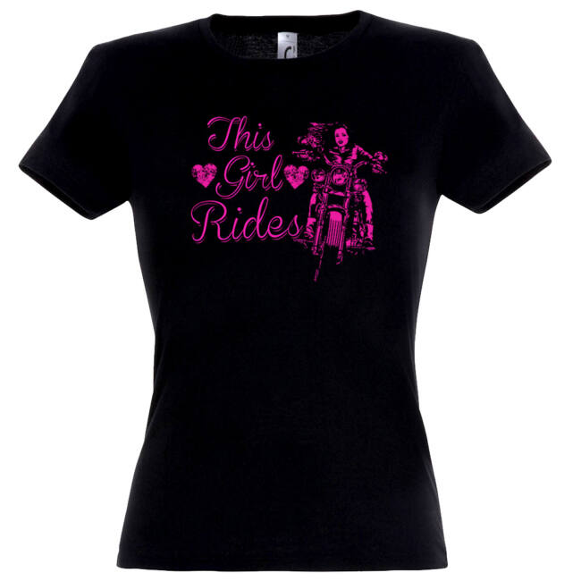 This girl rides póló fekete színben