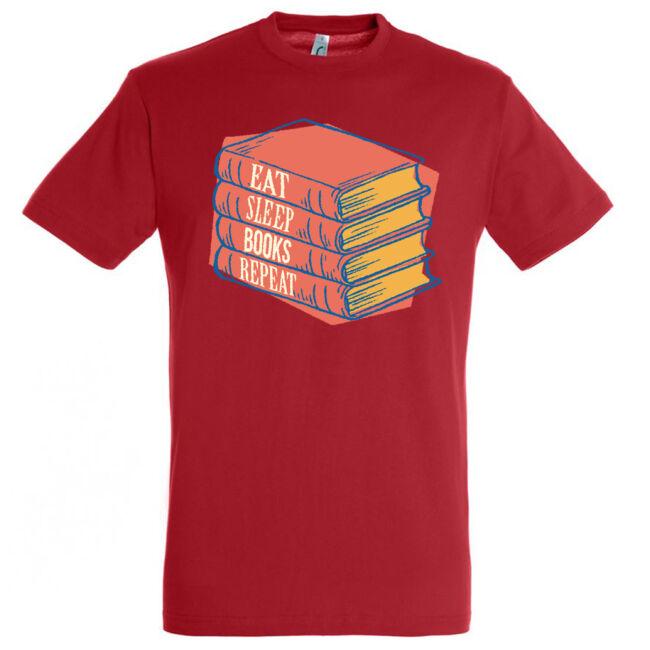 Eat, sleep, books póló több színben