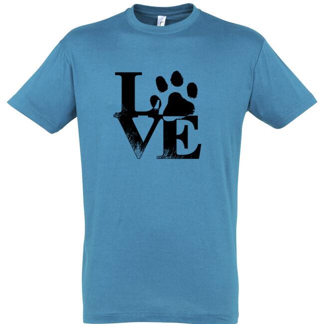 Love tappancsos kutyás férfi póló aqua