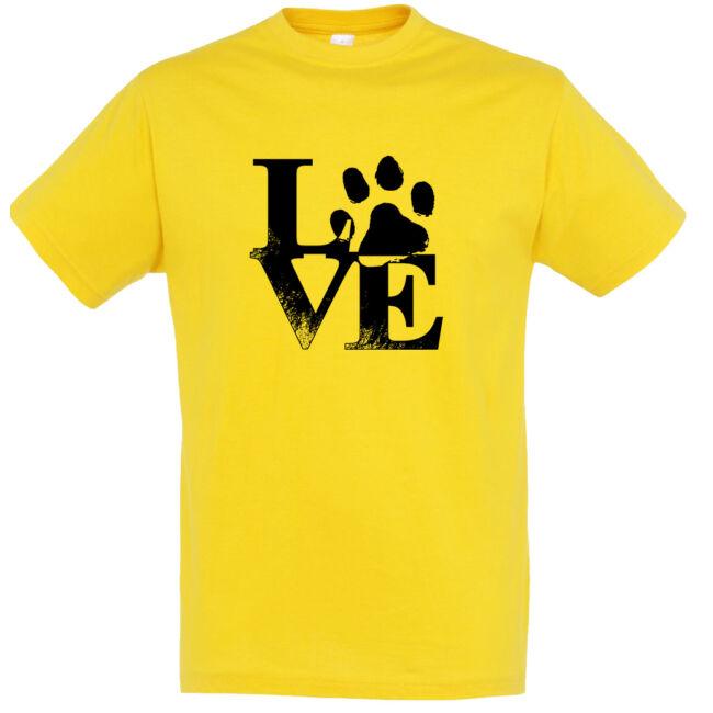 Love tappancsos kutyás férfi póló arany