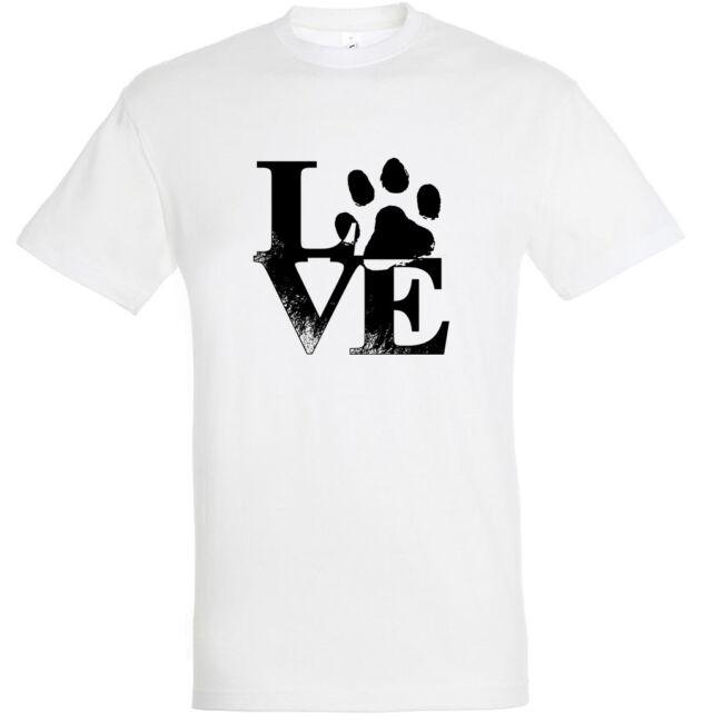 Love tappancsos kutyás férfi póló fehér