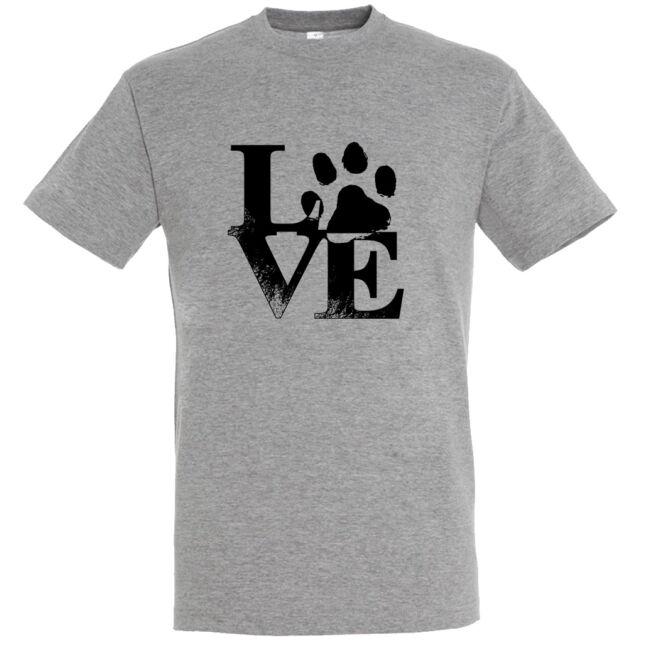 Love tappancsos kutyás férfi póló grey melange