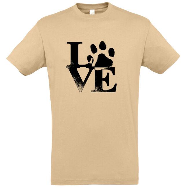 Love tappancsos kutyás férfi póló homok