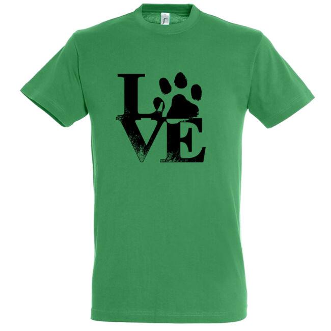 Love tappancsos kutyás férfi póló kelly green