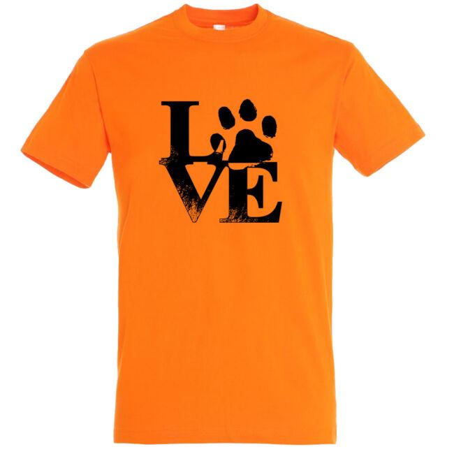 Love tappancsos kutyás férfi póló narancssára