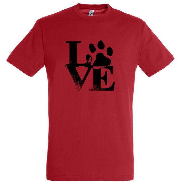 Love tappancsos kutyás férfi póló piros