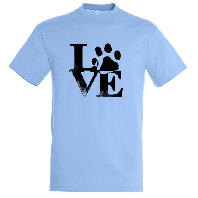 Love tappancsos kutyás férfi póló sky blue