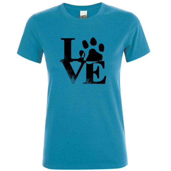 Love tappancsos kutyás női póló aqua