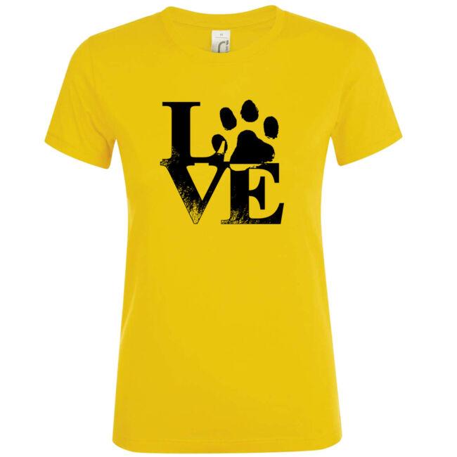 Love tappancsos kutyás női póló arany