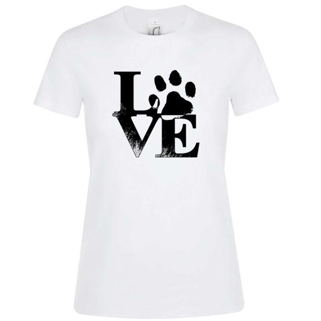Love tappancsos kutyás női póló fehér