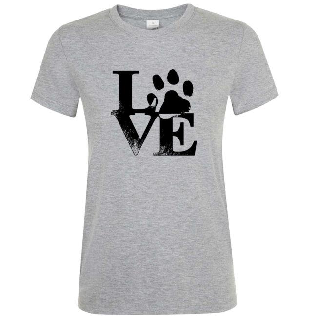 Love tappancsos kutyás női póló grey melange