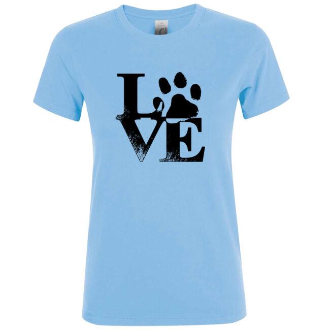 Love tappancsos kutyás női póló sky blue