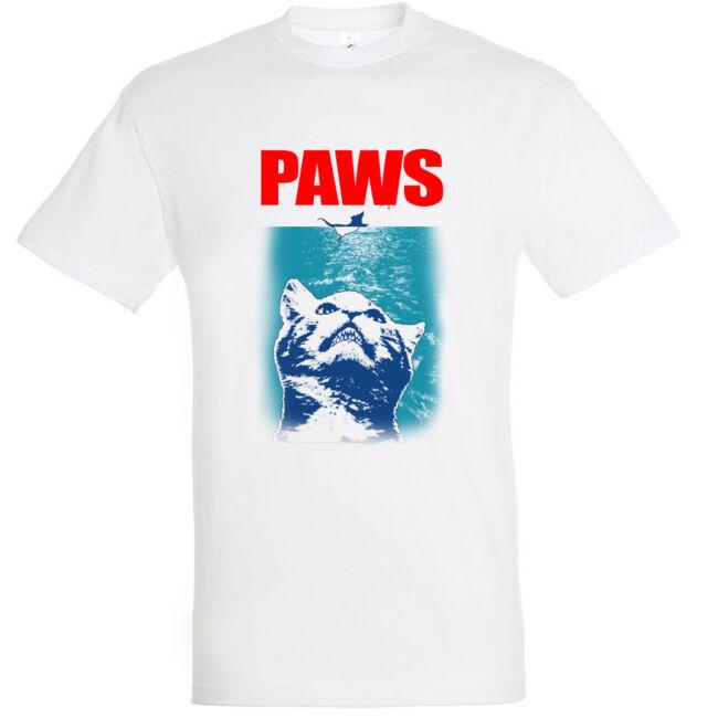 Paws macskás férfi póló fehér