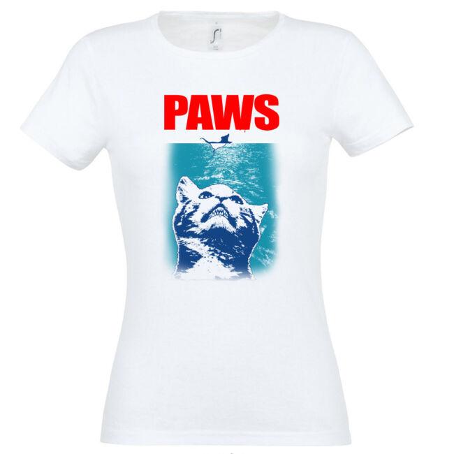 Paws macskás női póló fehér