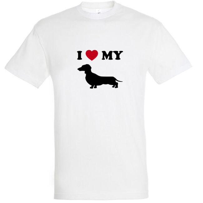 I Love My Tacskó póló fehér színben