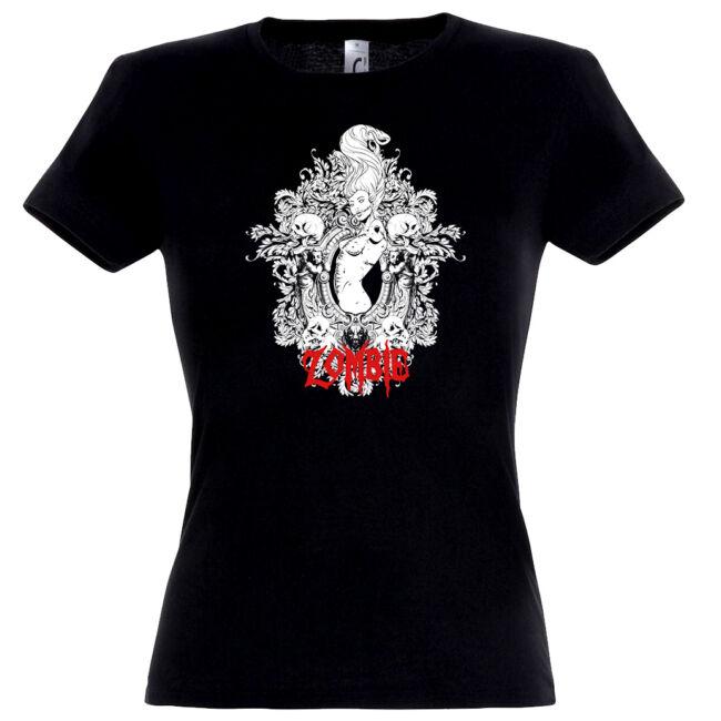 Zombie Woman fekete női póló