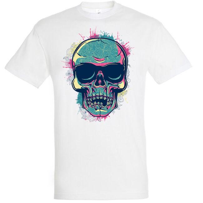 Color skull fehér póló